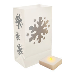 LumaBase Luminarias - Battery Operated LumaLite Kit Snowflake - Battery operated luminarias will create festive lighting for your special event. The luminarias are weather resistant, reusable and can be used indoors or outdoors. The battery operated LumaLite will light for over 300 hours on a fresh set of batteries. It will also anchor the luminaria bag. Included: 6 Weather Resistant Plastic Bags, 6 Battery Operated LumaLite LED Lights