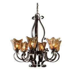 Uttermost - Uttermost Vetraio 1 Tier Chandelier in Oil Rubbed Bronze - Shown in picture: Oil Rubbed Bronze. Heavy hand made glass is held in classic European iron works giving these pieces a contemporary quality - with strong traditional appeal as well.
