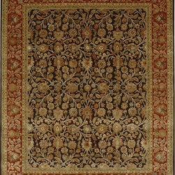 Jaipur Rugs - Hand-Knotted Oriental Pattern Wool/ Silk  brown/Red Area Rug ( 9x12 ) - Few artisans possess the expertise and skill necessary to create pieces for the Aurora collection. Every fiber of wool is scrutinized, sorted, carded, and spun to ensure the absolute finest and softest thread. Lush silk is added to create an undeniably beautiful and painstakingly precise work of hand-crafted art. The softness, brilliance and exquisite refinement in every aspect of the Aurora collection cannot be overstated: with sixty percent silk content and nearly two hundred knots per square inch, each rug shimmers like a finely cut diamond. Months of meticulous work touched by the hands of hundreds of skilled artisans, culminate in the finest floor coverings that Jaipur offers.