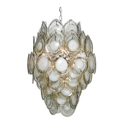 Ventura Coastal Beach Metal Grey Glass Chandelier - Contrasting opaque and transparent drops of art glass come together and engulf  chandelier bulbs to diffuse light beautifully.  Evocative of ice sculpture, sea foam, and abstract art, this noteworthy piece of lighting will appeal to mid century and coastal beach style fans.