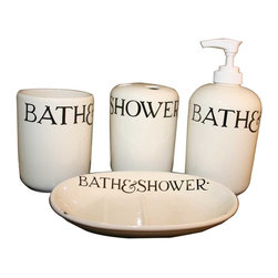 Renovators Supply - Bath Organizers Cream Ceramic 4 pc. set Bath Collection | 33700 - Bathroom Accessories: This ceramic collection comes is cream colored with black wording. Includes a tumbler 4 inch H, a lotion dispenser 5 3/4 inch H, a toothbrush holder 4 1/4 inch H that holds 4 toothbrushes and a soap dish 1 1/2 inch H x 5 1/2 inch W x 3 7/8 inch projection