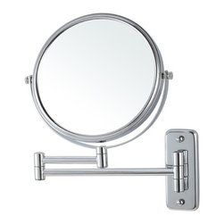 Nameek's - Wall Mounted Double Sided 3x Makeup Mirror - Extendable round wall mounted makeup mirror made of brass available in chrome or satin nickel finishes. Double faced mirror featuring 3x magnification. 8 Inch Round Wall Mounted Mirror. Double Face Makeup Mirror. 3x Magnification. Made of Brass. Contemporary Style Makeup Mirror. Base made from stainless steel. Italian Design.