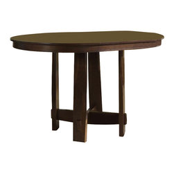 Liberty Furniture - Urban Mission Pub Table - Counterstools sold separately. One 18 in. leaf. Warranty: One year. Made from select hardwoods and oak veneers. Made in Malaysia. Minimal assembly required. Minimum: 60 in. L x 42 in. W x 36 in. H. Maximum: 78 in. L x 48 in. W x 30 in. H (108 lbs.)
