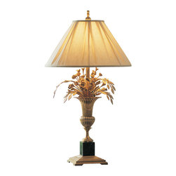 "Inviting Home - Flower Bouquet Table Lamp - Table lamp with vase and flowers design; 21"" x 37-1/2""H; The impressive table lamp with vase and flowers design is made from solid brass and will add a unique and tasteful touch to any room in your home. This table lamp is insatiably sculptural each flower is individually hand crafted from solid brass and arranged in a beautiful bouquet. Table lamp has solid brass base with black faux marble pedestal. Sensual antiqued finish highlights its gorgeously sculpted solid brass elements. Table lamp has a fabric shade with sophisticated pleading and finely detailed finial. Shade size: 7-1/2"" top 21"" bottom 11-1/2"" high 13-1/4"" slant height"