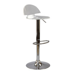 LexMod - Translucent Mushroom Bar Stool - Proliferate unbridled growth with the Translucent Mushroom Acrylic Bar Stool. Mushroom takes you further with a design that escapes the eye and allows space itself to fill your seating experience. Supported by a chrome plated height adjustable stand and foot ring, enjoy the sights in a room immersed in clarity.