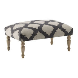 Turned-Leg Dhurrie Ottoman - Patterned pieces like this Ikat ottoman will continue to be popular this year. They're fun, and adding them to your space will add great dimension.