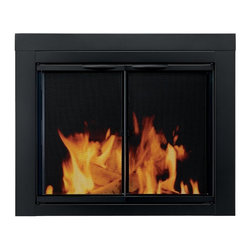 Pleasant Hearth - Pleasant Hearth Alpine Cabinet Fireplace Screen and Glass Doors - Black - AN-101 - Shop for Fire Places Wood Stoves and Hardware from Hayneedle.com! The Pleasant Hearth Alpine Cabinet Fireplace Screen and Glass Doors - Black adds style and sophistication to your traditional masonry fireplace. Its one-piece construction is designed for mounting against flat surfaces and can be installed in 3 easy steps. It features handles hidden damper-control knobs for airflow and heat-resistant insulation.About GHP GroupGHP Group creates electric fireplaces accessories log sets and other heating options found in homes across America. With years of experience and a close attention to detail their products exceed industry standards of safety quality durability and functionality. Whether you're warming a room or just making a relaxing glow there's a GHP Pleasant Hearth product for you.