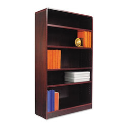 Alera - Alera BCR56036MY Aleradius Corner Wood Veneer Bookcase - Mahogany Brown - ALEBCR - Shop for Bookcases from Hayneedle.com! About AleraWith the goal of meeting the needs of all offices -- big or small casual or serious -- Alera offers an excellent line of furnishings that you'll love to see Monday through Friday. Alera is committed to quality innovative design precision styling and premium ergonomics ensuring consistent satisfaction.