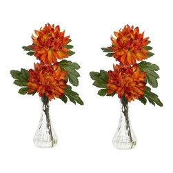 """Mum with Bud Vase Silk Flower Arrangement (Set of 2) - Mum's the word here... ok, we couldn't resist. But really, you'll agree it IS the word when you see this beautiful mum set in person. There aren't many flowers that retain that classic flower shape, but are still varied enough to be considered interesting. With its full bloom and somewhat pointy petals, the mum is definitely """"classically fascinating"""". Couple that look with the delicate curves of the bud vase (complete with liquid illusion faux water), and you have a real winner. Height= 12.5 in x Width= 6 in x Depth= 6 in"""