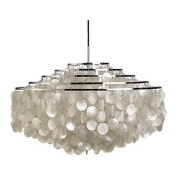 Verpan - Panton Fun 11DM Pendant Light - Why simply light your space when you can make a dazzling statement? Adorned with lovely mother-of-pearl discs hanging from sleek metal rings, this Verner Panton pendant is designed to be both seen and heard — and admired.