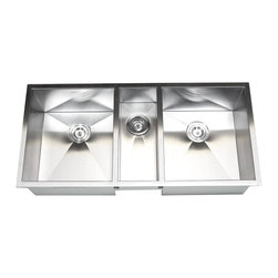 "Ariel - 42 Inch Stainless Steel Undermount Zero Radius Triple Bowl Kitchen Sink - Multitask with ease with this triple bowl undermount sink. Handcrafted from 16-gauge stainless steel. Dimensions 42"" x 20"" x 10"" I 6"" I 10""."