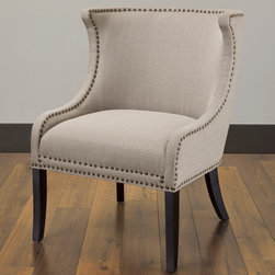 None - Demi Ritual Linen Accent Wing Chair - Make a stylish statement with this accent wing chair. A durable hardwood frame and a comfortable cushion highlights this detailed chair.