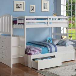 Donco Kids - Arch Mission Stairway Bunkbed with Full Extension and Underbed Drawers (Twin/Ful - Add modern design and additional space to any small bedroom with this bunk bed with under bed drawers. With a solid 100 percent pine wood construction, this sturdy bed is built to last.