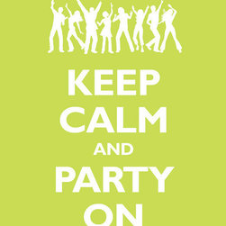 Keep Calm Collection - Keep Calm And Party On, 11 x 14 giclee print (citrus) - This item is an Art Print which means it is a higher-quality art reproduction than a typical poster. Art prints are usually printed on thicker paper, resulting in a high quality finish. This print is produced on a 270 gsm fine art paper stock.