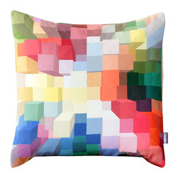 Bright 3D Geometric Pillow - Geometric pillow cover with shades of red, blue, aqua, green, yellow, orange, pink, brown and white overlapping squares. This exclusive bright colored pillow will make the perfect accent on a couch, chair, window seat or bed. It would also make a perfect housewarming gift too!
