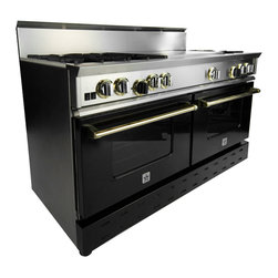 """60"""" BlueStar RNB French Top Range - Jet Black (RAL 9005) 60"""" RNB French Top Gas Range with 6 Burners, can come in 190 different colors. This burner configuration is just one of the many options."""