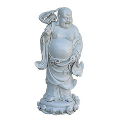 Golden Lotus - Chinese Porcelain Standing Happy Buddha Figure - This is a hand made porcelain figure of Chinese Happy Buddha with the hand holding a gourd.