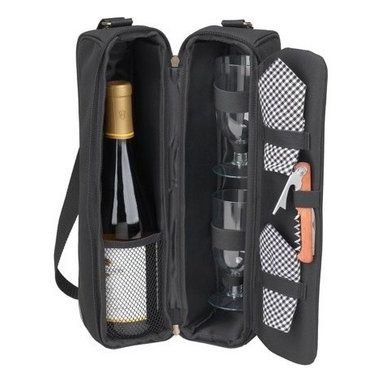 Picnic at Ascot - Sunset Wine Carrier for Two, Black/Gingham by Picnic at Ascot - Our Sunset Wine Carrier for Two in Black/Gingham by Picnic at Ascot is a top quality deluxe wine holder with glasses featuring state of the art Thermal Shield insulation to maintain wine at the perfect temperature. The glass compartment can be used to hold a second bottle.