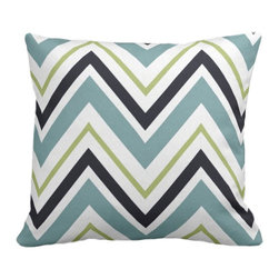 PURE Inspired Design - Chevron Organic Pillow Cover, Surf/Lime/Ink/Natural, 18 X 15 - Collection:  PURE Beach