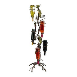 Aspire - Standing Wine Holder - This standing wine holder features all metal construction with metal grape accents. Holds up to five bottles. Metal. Color/Finish: Brown, green. 48 in. H x 12 in. W x 12 in. D. Weight: 5 lbs.