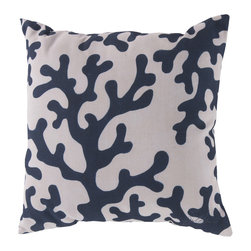 """Surya - Coral Square Decorative Pillow RG-037 - 20"""" x 20"""" - Enjoy a tranquil reminder of the beach in your space with this cool coral pillow. Featuring a nautical navy coral design splashed pristinely against a quaint cream backdrop, this piece is sure to spice up your space. This pillow contains a Virgin Poly Styrene Bead fill providing a reliable and affordable solution to updating your indoor or outdoor decor."""