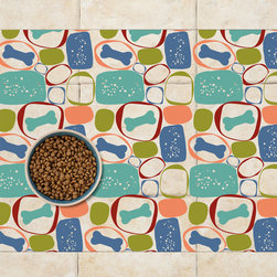 Sniff It Out Designer Pet Mats - MidCentury Dog Bone Pet Food Mat, 26 X 20.5 - Premium-quality clear vinyl mats uniquely designed to resemble beautiful art painted directly onto your floor. The smoothness of the vinyl allows for easy cleanup and lays perfectly flat. Sniff It Out Pet Mats make great gifts and will be a conversation piece that your friends and family won't stop talking about. Made in the USA.
