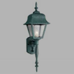 "Progress Lighting - Progress Lighting P5657-31 Polycarbonate Lanterns 1 Light Wall Lantern in Black - Outsized lanterns mounted on pillars arches illuminated by indirect lights dramatic hanging candelabra in the portico coach lanterns on either side of your entry - all of these and so many more type of outdoor lighting are today's options. Retired at last is the old ""front porch light."" Gone, thankfully, is the dim and tacky light over the garage door, a fixture that never did give enough light to find your way to your entry. Now you have all the choices, dramatic or subtle. You can coordinate outdoor lights to your interior d�cor, or you can select the understated appeal of lighting that blends without being noticed. These polypropylene lanterns are corrosion and impact resistant, virtually maintenance free and UV stabilized.One Light wall lantern Featuring beveled acrylic panels Height from center of j - box to top of fixture 15"", extends 9"" 1 medium base, 100W maxBulb Type: Incandescent Collection: Non-Metallic Incandescent Height: 25"" Number Of Lights: 1 Socket 1 Base: Medium Socket 1 Max Wattage: 100 Style: Traditional Classic Suggested Room Fit: Outdoor UL Listed: Wet Location Watts Per Bulb: 100 Width: 8"" sq."