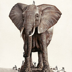 'The Big Monument' Glicée Print - Artist Ricardo Solís urges you to think of the existence of a creator — and just where do these animals come from? The elephant in this print is chiseled from stone and perfect for any child's or adult's room all the same.