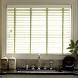 Smith + Noble Custom Window Blinds - Two-inch faux wood blinds are easy window coverings to work with, especially in traditional and transitional kitchens and baths.  They also tend to be pretty low-maintenance and durable.  I really like how color tapes add interest to these ubiquitous choices, but I would tend to use them more cautiously in the bathroom as the tapes could make them less moisture-friendly.