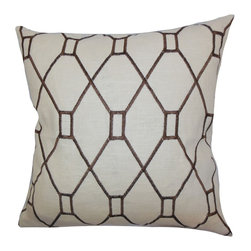 "The Pillow Collection - Nevaeh Geometric Pillow Brown 18"" x 18"" - Crisp and simple, this throw pillow displays a unique geometric pattern. The interlocking print comes in a rich chocolate hue against a neutral background. This indoor pillow adds charm to your living room, bedroom or lounge area. Made of 100% durable and plush material. Hidden zipper closure for easy cover removal.  Knife edge finish on all four sides.  Reversible pillow with the same fabric on the back side.  Spot cleaning suggested."