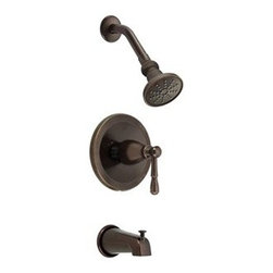 """Danze - Danze Eastham Trim Only Single Handle Tub & Shower Faucet - Tumbled Bronze - Features All brass 6"""" shower arm USE WITH VALVE: D112000BT (w/ stops) or D115000BT (w/o stops) or D112500BT (w/ stops) or D115500BT (w/o stops) Valve not included, must order separately Features Mono Round 3 1/2"""" single function showerhead D460052 Diverter on spout View Spec Sheet"""
