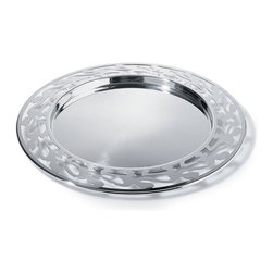 """Alessi - Alessi """"Shaman"""" Round Tray - With this imaginative serving tray, you'll feel as if there are a few more """"guests"""" at the table. The outer edge features artistic silhouettes, joined hand in hand. And as with any good party, the more the merrier."""
