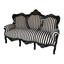 Lansky Studio - Striped Mona French Rococo Carved Sofa - Add some french rococo style to your home with this luxury sofa. Hand made and hand carved from solid mahogany wood with beautiful details. Hand finished in black. Upholstered in a cream and clack stripped fabric.