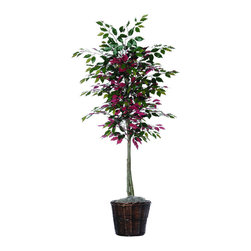 Vickerman - 6' Capensia Tree - 6' Capensia Tree with hardwood trunks, Brown Rattan Basket and American made