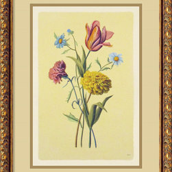 Amanti Art - Botanical Bouquet II Framed Print - Old world craftsmanship is on display in these hand colored Italian engravings on aged paper. Slight irregularities make each piece unique and special.