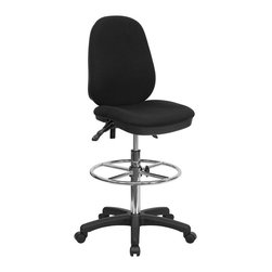 Flash Furniture - Flash Furniture Ergonomic Multi-Functional Triple Paddle Drafting Stool - Drafting Stools can be used in a multitude of environments including School, Work and for the Home. Not only is this chair great for drafting and regular office assignments it is also useful for people with disabilities who need a higher chair. Drafting stools make it easier for the user when they need or prefer more height to comfortably get in and out of chairs. This Multi-Functional Drafting Stool will exceed your expectations with the array of adjustable controls to suit your seating preference and the comfortably padded seat and back.