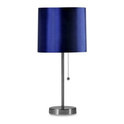 Style Craft - Brushed Steel Table Lamp with Navy Shade and CFL Bulb - This brushed steel table lamp provides a contemporary light source for any modern decor. Includes 13-watt CFL bulb.