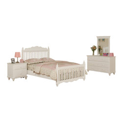 Adarn Inc. - Wooden Youth Bedroom Set White Fence, Full Size, 4 Pc Bedroom Set - Imagine a charming white picket fence as an entry to a beautiful country home and the style of This bedroom collection comes to life. Each corner of the head and foot boards contain a simple column-like design giving it the presence of classic style decor. This bed collection comes in both a twin and full sized frame.