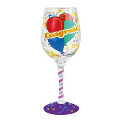 Westland - 9 Inch Multi-Colored 'Congrats' Balloon Design 15 Oz Wine Glass - This gorgeous 9 Inch Multi-Colored 'Congrats' Balloon Design 15 Oz Wine Glass has the finest details and highest quality you will find anywhere! 9 Inch Multi-Colored 'Congrats' Balloon Design 15 Oz Wine Glass is truly remarkable.