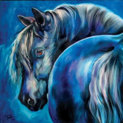 WL - Blue Moon Theme Wall Art Painting with Moonlit Black Horse Design - This gorgeous Blue Moon Theme Wall Art Painting with Moonlit Black Horse Design has the finest details and highest quality you will find anywhere! Blue Moon Theme Wall Art Painting with Moonlit Black Horse Design is truly remarkable.