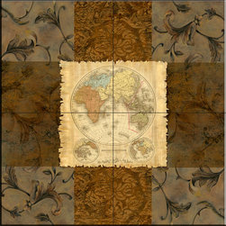 The Tile Mural Store (USA) - Tile Mural - Terre Orbis II  A  - Kitchen Backsplash Ideas - This beautiful artwork by Michelle Katz has been digitally reproduced for tiles and depicts a nice map with a brown toned border.    Tile murals of maps are timeless and are excellent to add to your kitchen backsplash tile project or your tub and shower surround bathroom tile project. Images of maps on tiles add a unique element to your tiling project and are a great kitchen backsplash idea. Use a map tile mural for a wall tile project in any room in your home where you want to add interest to a plain field of wall tile.
