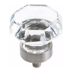 Amerock - Amerock Traditional Classics BP55268-CG10 Glass Knob Cabinet Knob - The Amerock Traditional Classics collection's classical, time honored designs are an indulgence in strong curves, soft silhouettes, and distinctive styles. This beautiful retro styled glass knob features a classic clear color and coordinating satin nickel base.