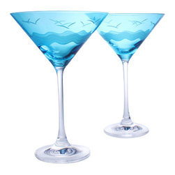 Rolf - Set of 4 Seabreeze Martini Glasses Turquoise - Our sophisticated Seabreeze collection echoes the peace and calm of a seaside escape, adding an incredibly natural look to your home or bar! Beautifully crafted with graceful waves and calming ocean birds, our high quality set of 4 martini glasses will add a hint of color and style to any occasion. The perfect balance between delicate and durable, the Seabreeze collection is ideal for housewarming gifts and special occasions and makes an impressive addition to any home bar! * Set of 4 * Capacity: 10 oz