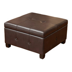 Codi Storage Ottoman Coffee Table, Brown Leather - The Codi ottoman is a great piece for your storage needs. This piece features decorative button and stitching accents and the top opens up to the storage compartment. The square shape and size makes this piece perfect for small spaces and for keeping your home clutter free.