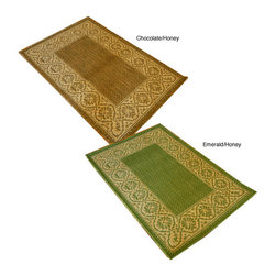 None - Wallpaper Scroll Indoor/ Outdoor Rug (5' Round) - Update your home decor with a wallpaper scroll style rug Transitional rug is crafted from durable 100-percent polypropylene Versatile rug can be used indoors or out