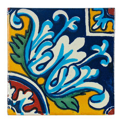 "Mexican Artisans - Flower Pattern Talavera Tiles, Box of 15 - These bright tiles shout ""Fiesta!"" to make a cheery style statement in your kitchen, bath or other favorite setting, even outdoors. It's easy to see why Talavera tiles have been in fashion for centuries for their beautiful colors, patterns and texture."