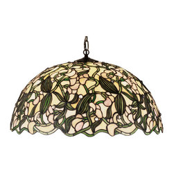 """Meyda Tiffany - 21""""W Sweet Pea Pendant - This pendant has an undulating edged stained glass shade of Pale Blush pea flowers that are surrounded by gracefully twining leaves and vines of Spring Green against an Ivory Pearl background. The nature inspired shade pattern, designed by one of the Meyda Tiffany artists, is supported by pendant chain and canopy with a warm Mahogany Bronze finish."""