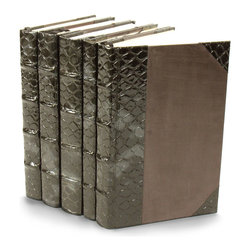 Exotic Collection I Books- Spotted Fish - Set of 5 - Glossy faux leather, tinted in the Spotted Fish pattern that marks high-end Scandinavian accessories, upholsters the spines of these five books from The Exotic Collection I.  Finished with cocoa-colored handmade paper covers, the volumes are perfect for piling loosely on a cocktail table or for placing between sculptural bookends on a nightstand.