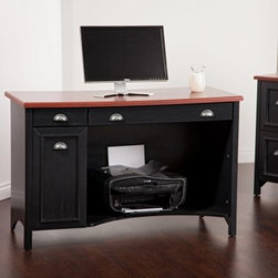 Bush Stanford Computer Desk - Decorate your office with Stanford style. The Bush - Stanford Computer Desk by Bush Furniture features a distressed antique black finish and a durable laminate cherry-finish desktop to bring tasteful style and functional workspace to your home. A slide-out keyboard tray is neatly tucked behind the keyboard door. Enclosed CPU storage, a lower storage shelf, and an accessory drawer will help you keep your computer area neatly organized. CPU Compartment Dimensions: 20.36H X 10.83W X 19.29D inchesChair/Foot Space Dimensions: 30.75H X 47.5W X 52D inchesOverall dimensions: 47.5W X 20.75D X 30.75H inches Add the Bush - Stanford Computer Desk to your office to enjoy years of elegance and function.About Bush FurnitureBush Furniture is the eighth largest furniture company in the United States. Bush manufactures high-quality products, which are designed to be easily assembled and provide great value for the price. Bush furniture is made from a combination of particleboard, fiberboard, and solid wood components. The use of real wood components will be noted in the product description, if applicable.Bush Industries has over 4,000,000 total square feet of manufacturing, warehousing, and distribution space. This allows for a very wide selection of high-quality furniture with the ability to ship quickly. All standard residential Bush products carry a generous 6-year warranty. All Bush business furniture, including the A series, C series, and Quantum series, is backed by a 10-year warranty from Bush, one of the best in the industry.