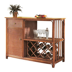 Wicker Paradise - Rattan Bar Table - Entertain friends and family in style with this Rattan Bar Table. It has plenty of room for your bottles, glasses and other items with 1 drawer, a cabinet with an adjustable shelf and a wine rack. Along with the great look of rattan, the cabinet has a woven front and is customizable with your choice of 6 finishes.   Rattan finish choices